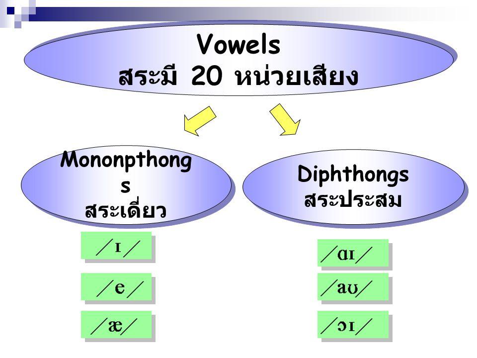 Vowels สระมี 20 หน่วยเสียง