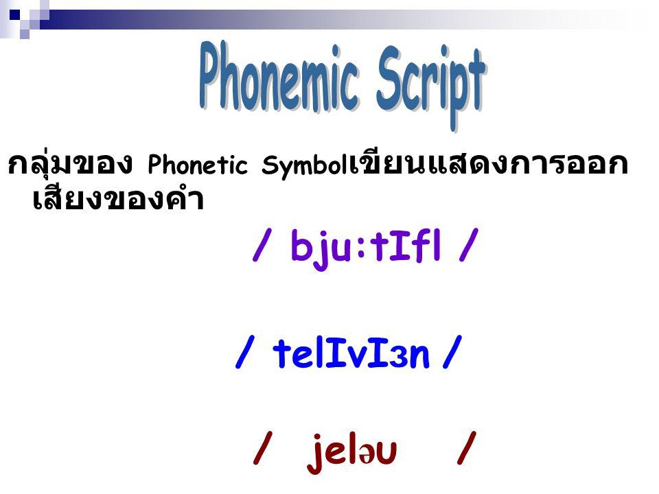 / telIvIзn / / jeləυ / Phonemic Script