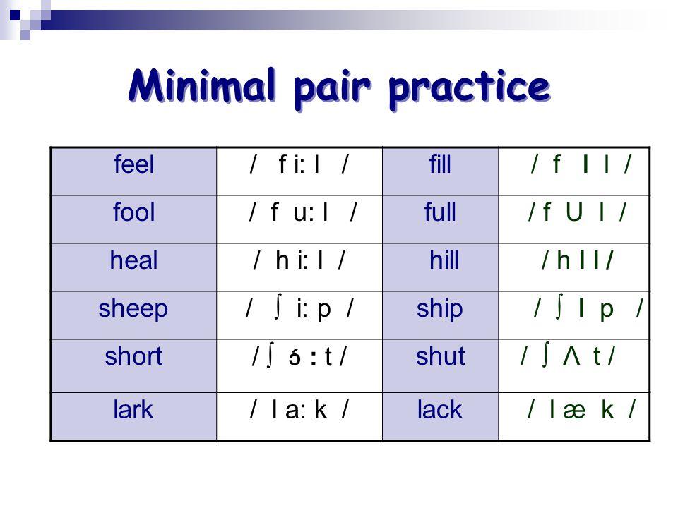 Minimal pair practice feel / f i: l / fill / f I l / fool / f u: l /