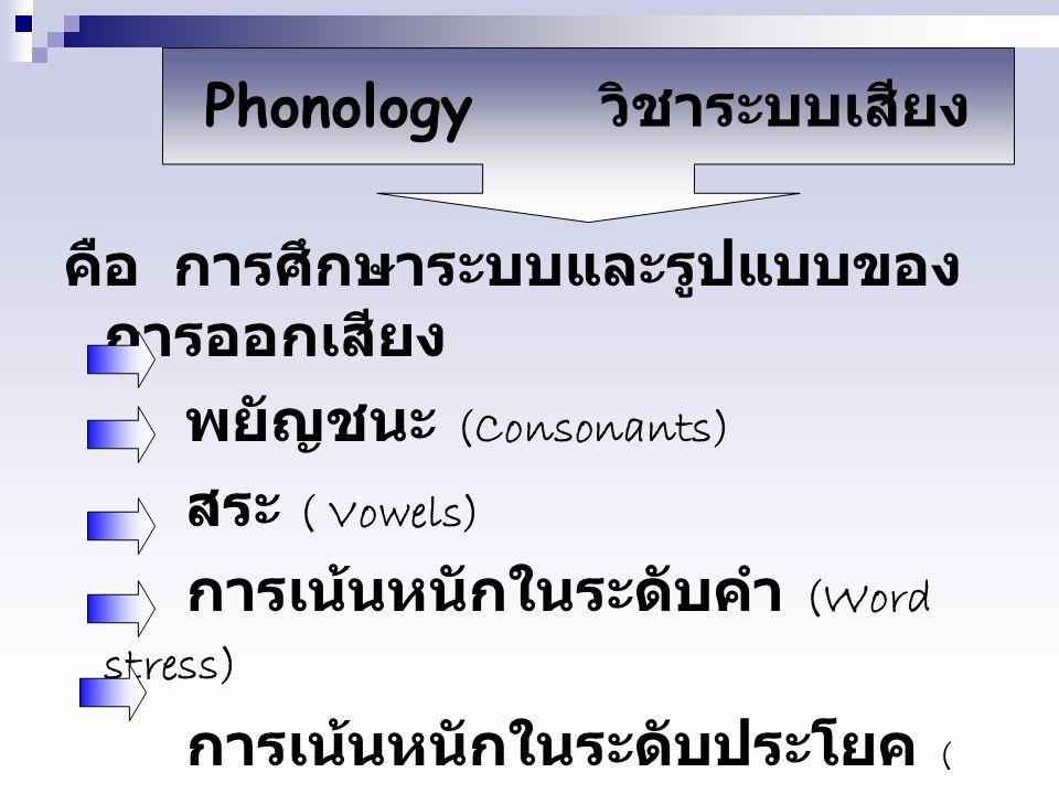 Phonology วิชาระบบเสียง