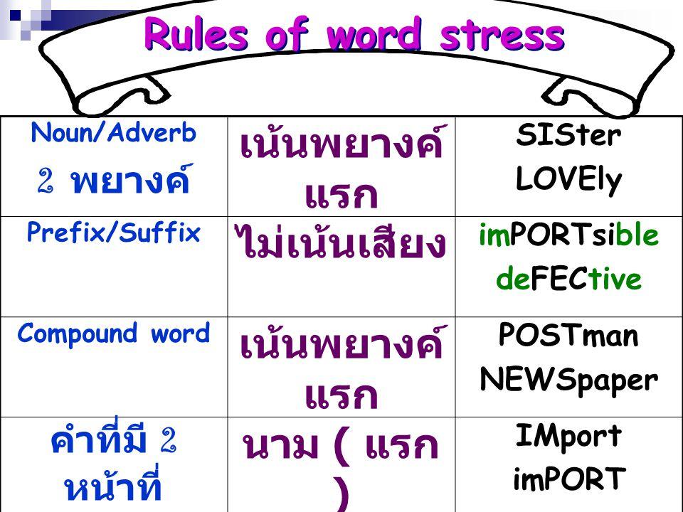 Rules of word stress เน้นพยางค์แรก ไม่เน้นเสียง นาม ( แรก )