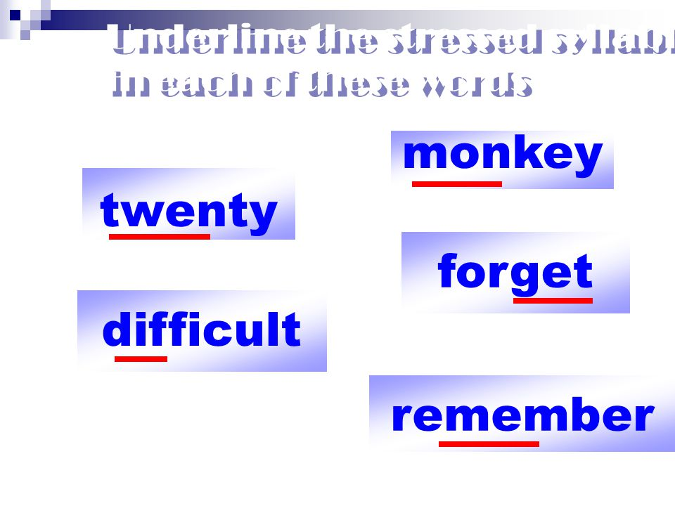 Underline the stressed syllable in each of these words