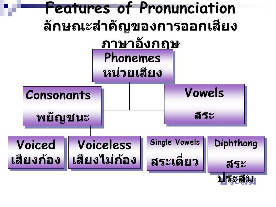Features of Pronunciation ลักษณะสำคัญของการออกเสียงภาษาอังกฤษ