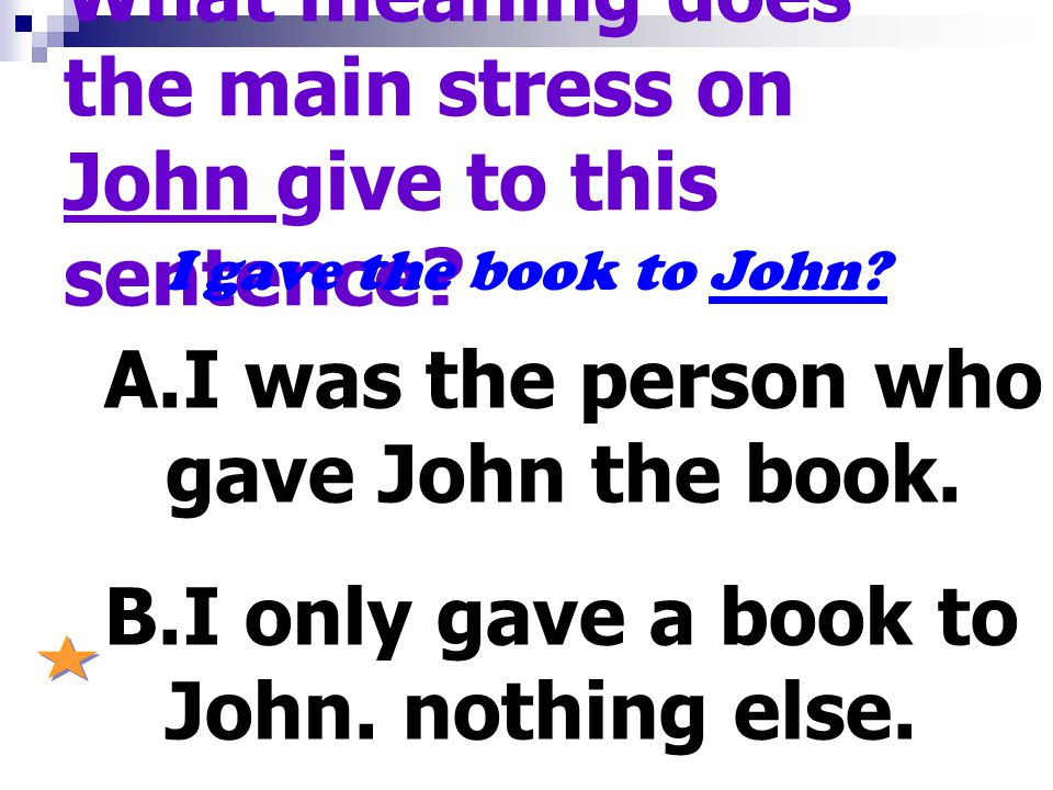 What meaning does the main stress on John give to this sentence