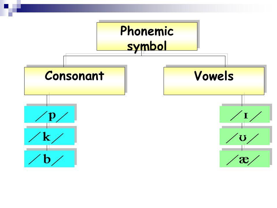 Phonemic symbol Consonant Vowels