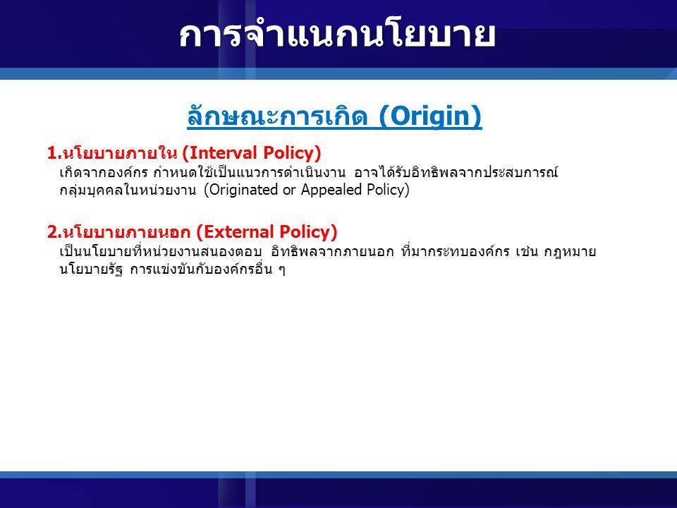 ลักษณะการเกิด (Origin)