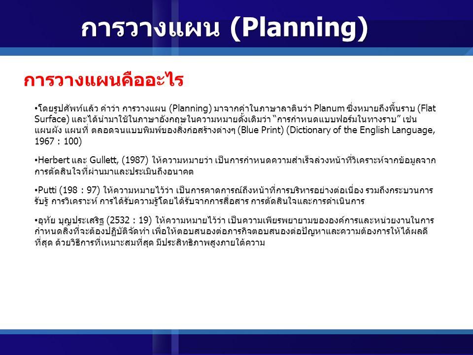 การวางแผน (Planning) การวางแผนคืออะไร