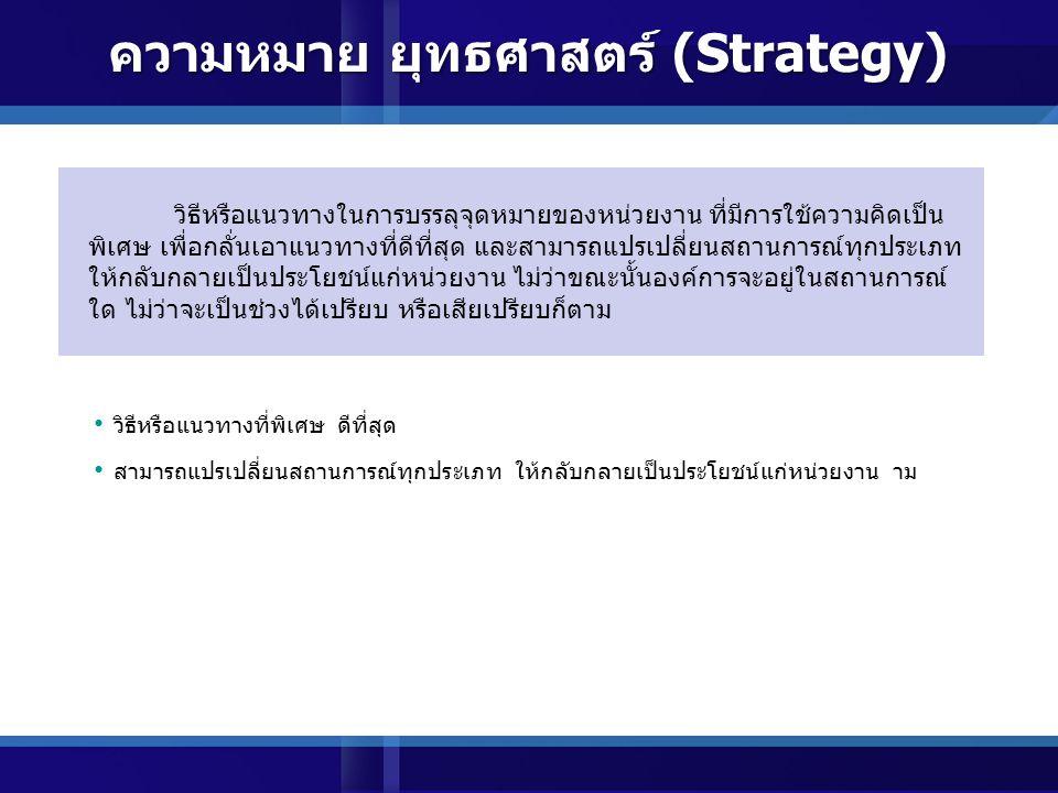 ความหมาย ยุทธศาสตร์ (Strategy)