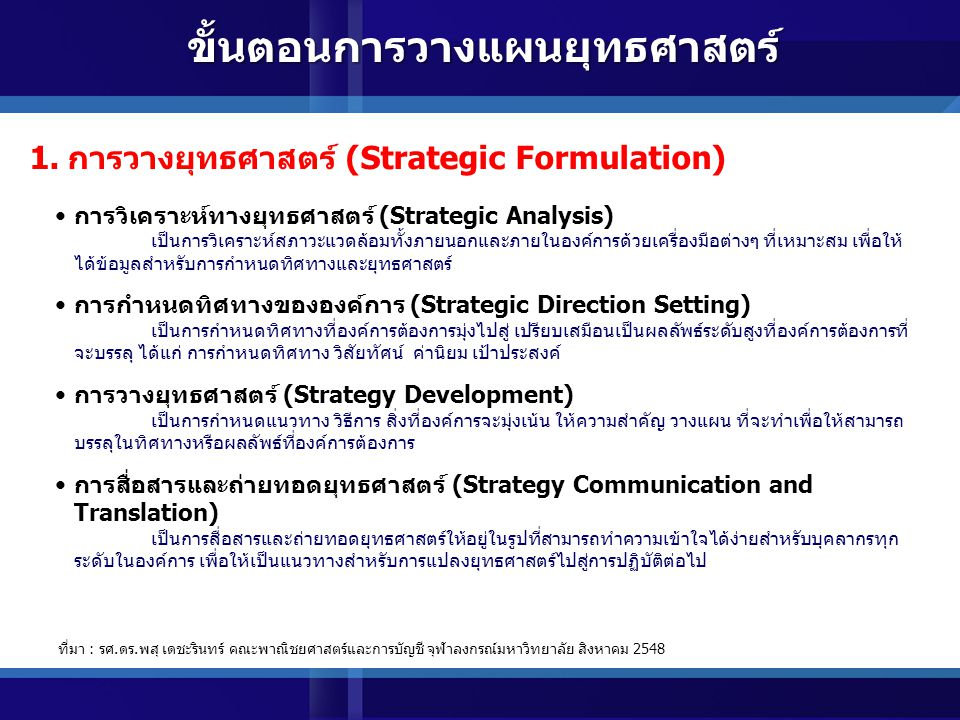 ขั้นตอนการวางแผนยุทธศาสตร์