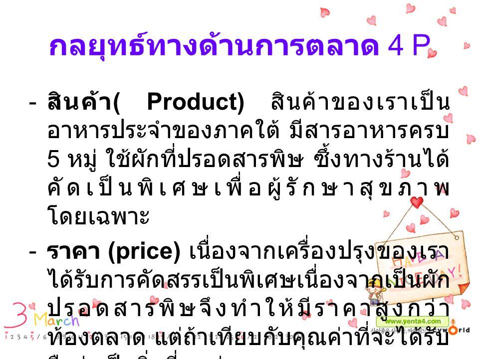 กลยุทธ์ทางด้านการตลาด 4 P
