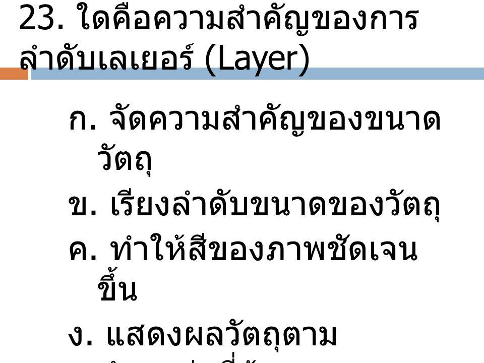 23. ใดคือความสำคัญของการลำดับเลเยอร์ (Layer)