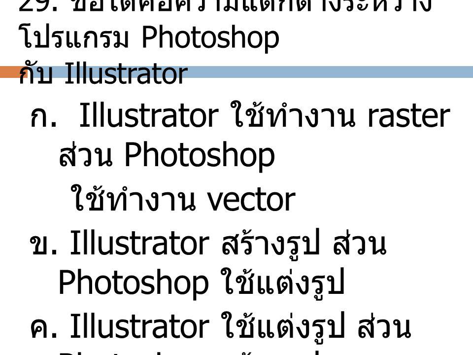 29. ข้อใดคือความแตกต่างระหว่างโปรแกรม Photoshop กับ Illustrator