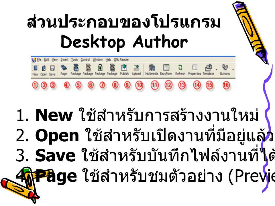 ส่วนประกอบของโปรแกรม Desktop Author