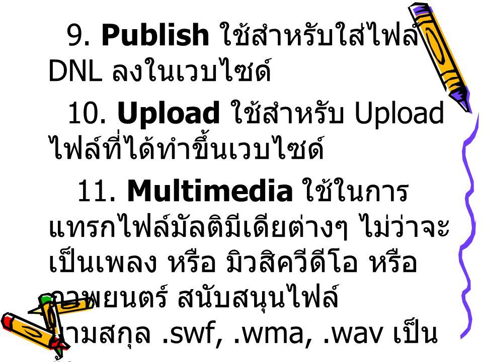 9. Publish ใช้สำหรับใส่ไฟล์ DNL ลงในเวบไซด์