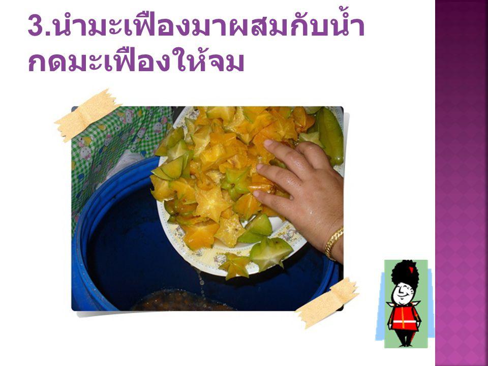 3.นำมะเฟืองมาผสมกับน้ำ กดมะเฟืองให้จม