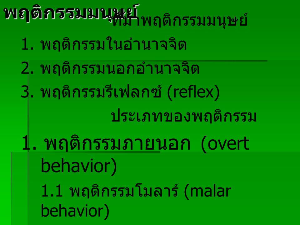 1. พฤติกรรมภายนอก (overt behavior)