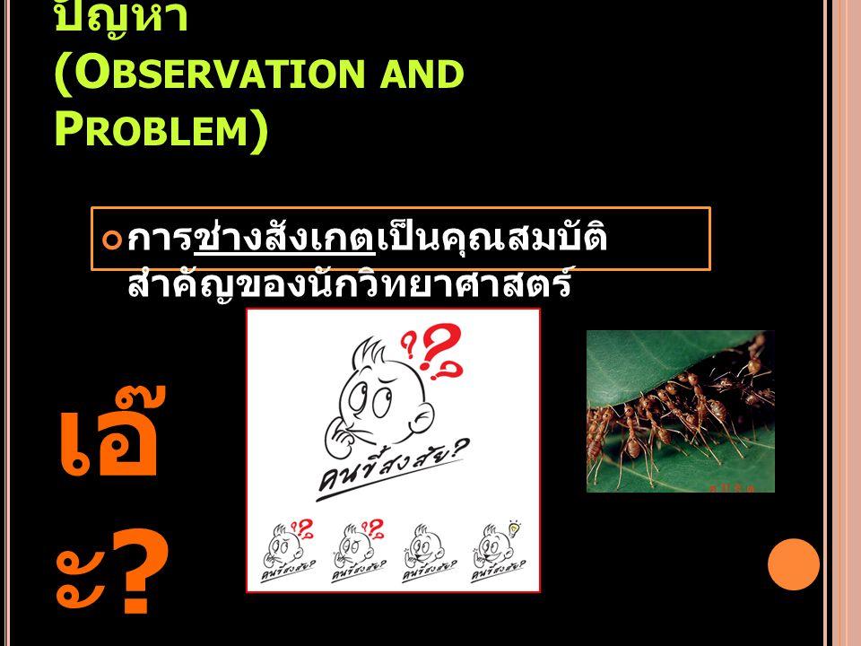 1. การสังเกตและตั้งปัญหา (Observation and Problem)