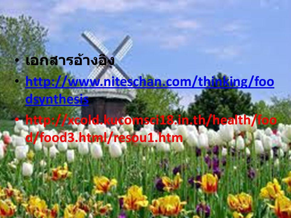 เอกสารอ้างอิง http://www.niteschan.com/thinking/foodsynthesis.