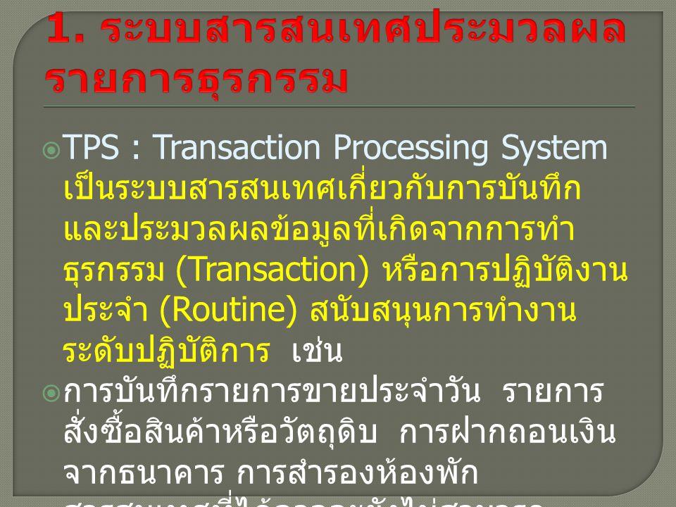 1. ระบบสารสนเทศประมวลผลรายการธุรกรรม