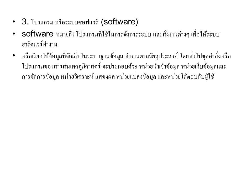 3. โปรแกรม หรือระบบซอฟแวร์ (software)