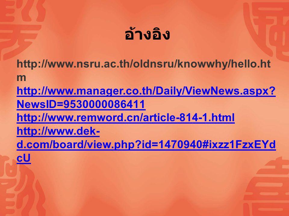 อ้างอิง http://www.nsru.ac.th/oldnsru/knowwhy/hello.htm