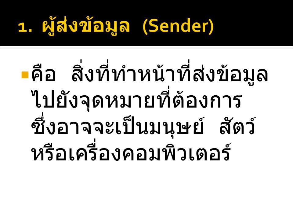 1. ผู้ส่งข้อมูล (Sender)