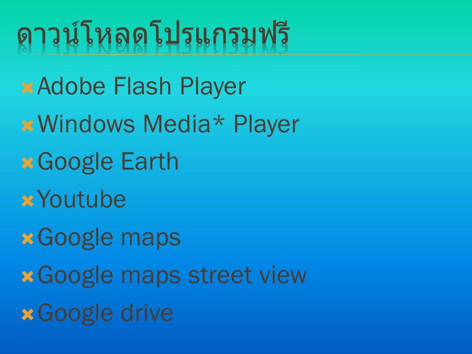 ดาวน์โหลดโปรแกรมฟรี Adobe Flash Player Windows Media* Player
