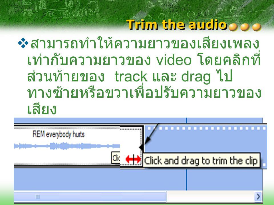 สามารถเพิ่ม audio tracks ก่อนหรือหลัง track นี้ได้อีก