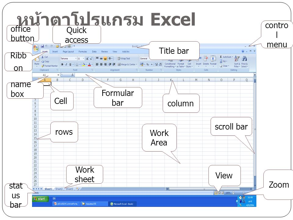 หน้าตาโปรแกรม Excel control menu office button Quick access Title bar