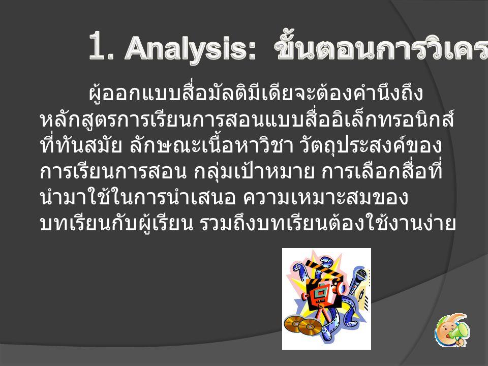 1. Analysis: ขั้นตอนการวิเคราะห์