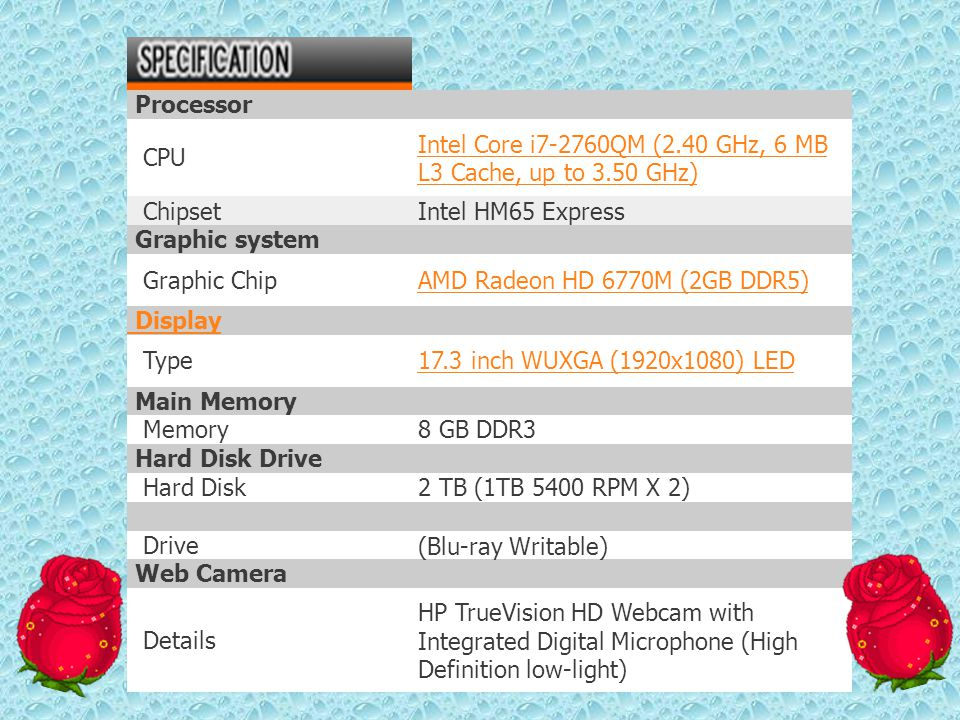 Processor CPU. Intel Core i7-2760QM (2.40 GHz, 6 MB L3 Cache, up to 3.50 GHz) Chipset. Intel HM65 Express.