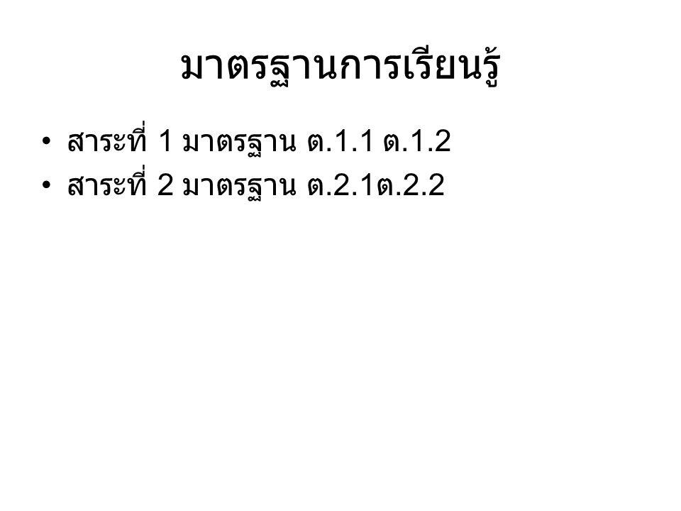 มาตรฐานการเรียนรู้ สาระที่ 1 มาตรฐาน ต.1.1 ต.1.2