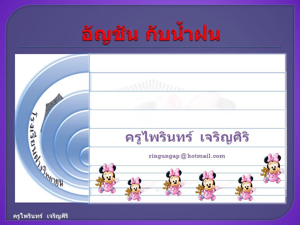 ครูไพรินทร์ เจริญศิริ ringungap @ hotmail.com