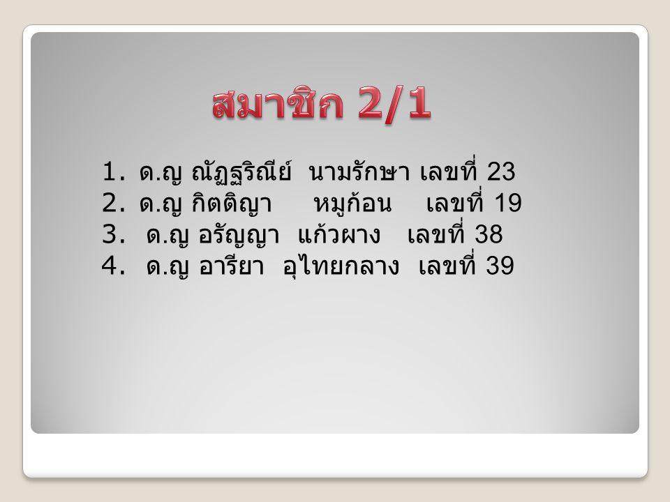 สมาชิก 2/1 ด.ญ ณัฏฐริณีย์ นามรักษา เลขที่ 23