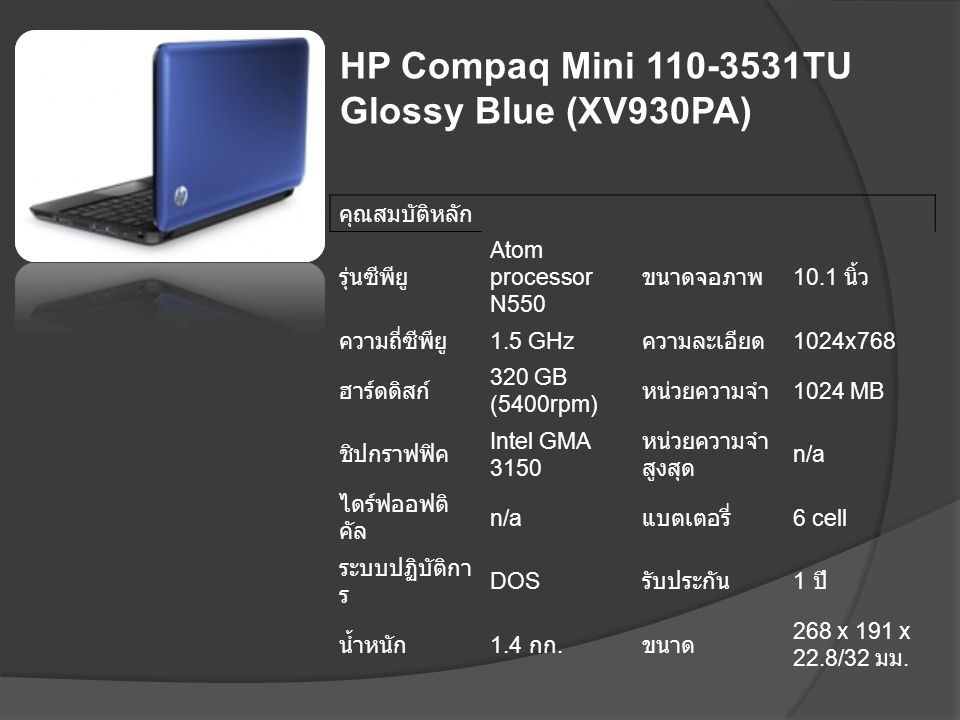 HP Compaq Mini 110-3531TU Glossy Blue (XV930PA)