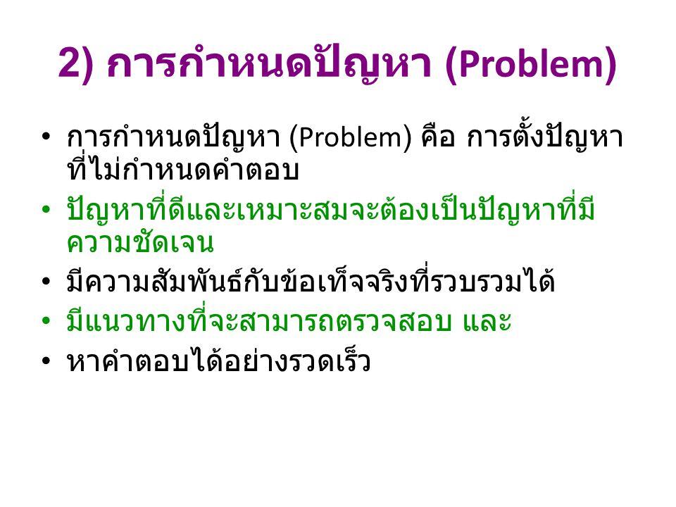 2) การกำหนดปัญหา (Problem)