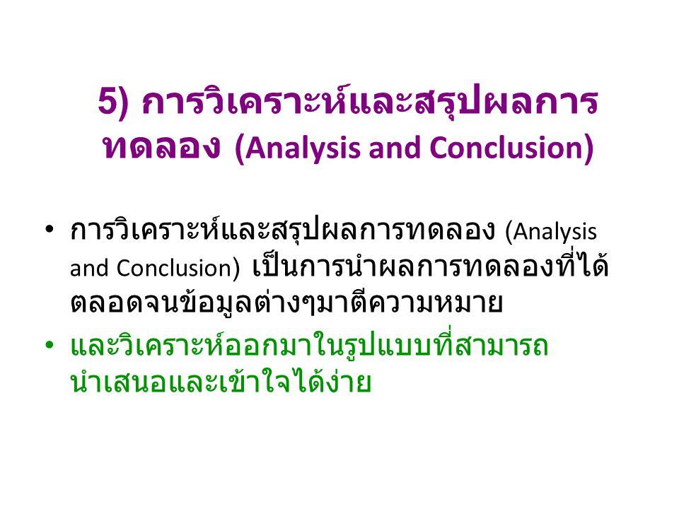 5) การวิเคราะห์และสรุปผลการทดลอง (Analysis and Conclusion)