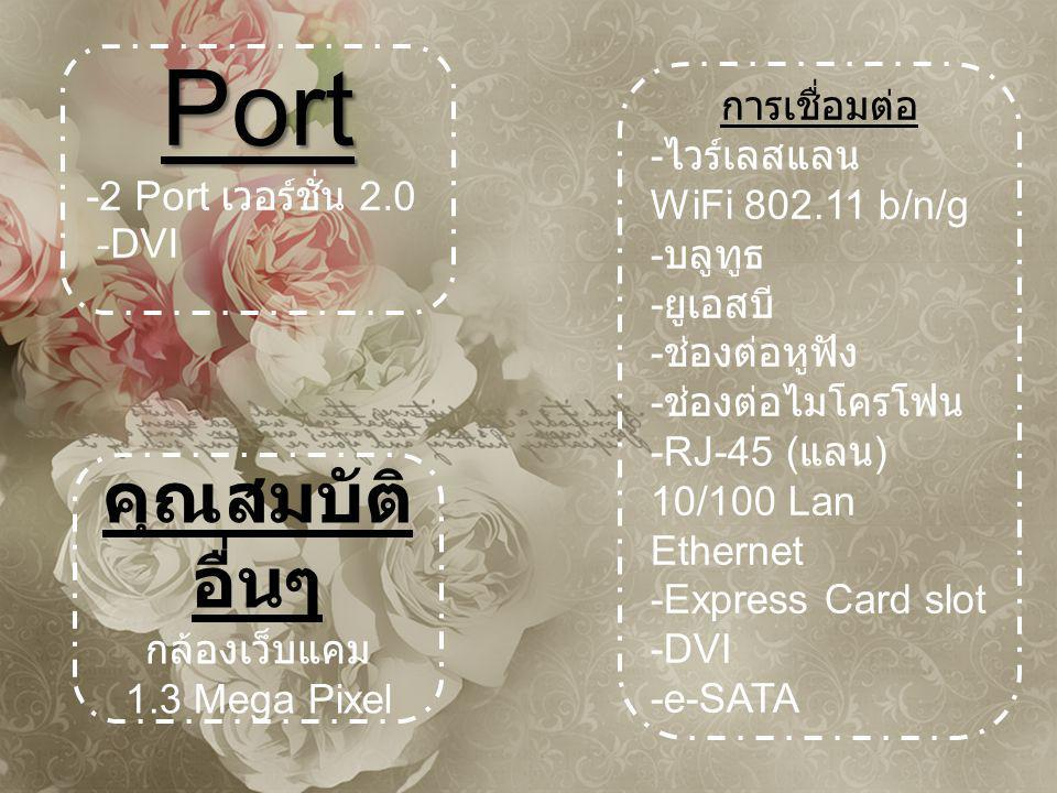 Port คุณสมบัติอื่นๆ -2 Port เวอร์ชั่น 2.0 -DVI การเชื่อมต่อ