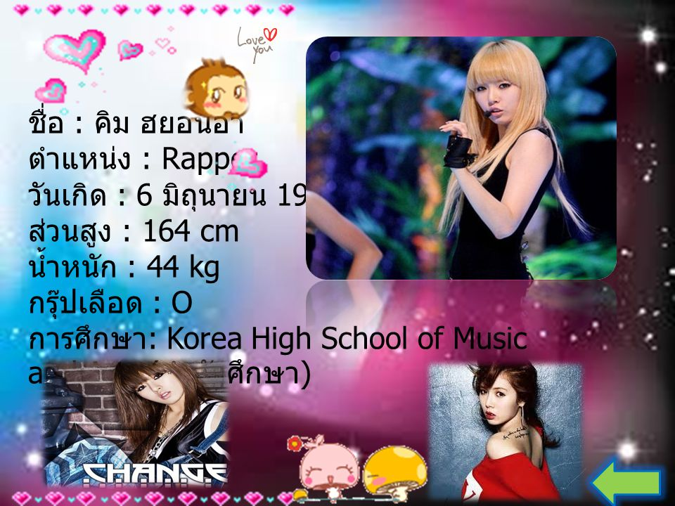 ชื่อ : คิม ฮยอนอา ตำแหน่ง : Rapper วันเกิด : 6 มิถุนายน 1992 ส่วนสูง : 164 cm น้ำหนัก : 44 kg กรุ๊ปเลือด : O การศึกษา: Korea High School of Music and Arts (กำลังศึกษา)