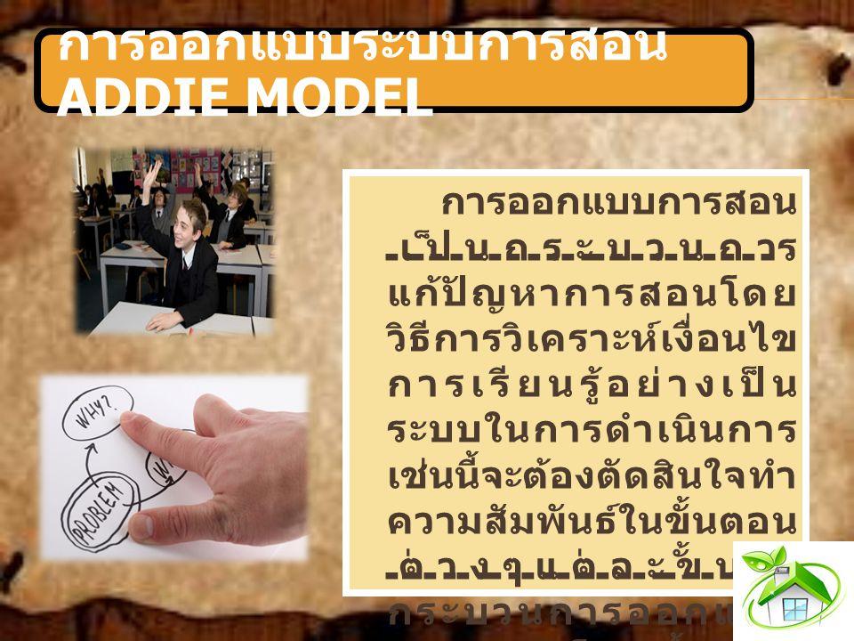 การออกแบบระบบการสอน ADDIE MODEL