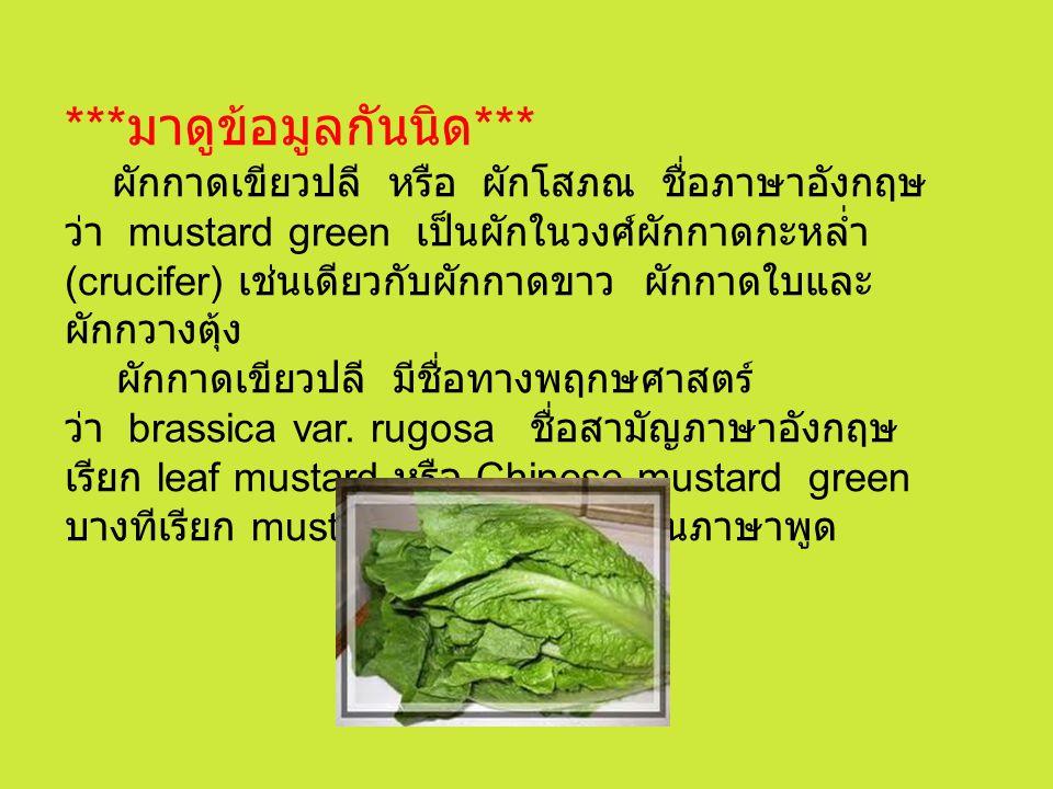 ***มาดูข้อมูลกันนิด*** ผักกาดเขียวปลี หรือ ผักโสภณ ชื่อภาษาอังกฤษว่า mustard green เป็นผักในวงศ์ผักกาดกะหล่ำ (crucifer) เช่นเดียวกับผักกาดขาว ผักกาดใบและผักกวางตุ้ง ผักกาดเขียวปลี มีชื่อทางพฤกษศาสตร์ว่า brassica var.