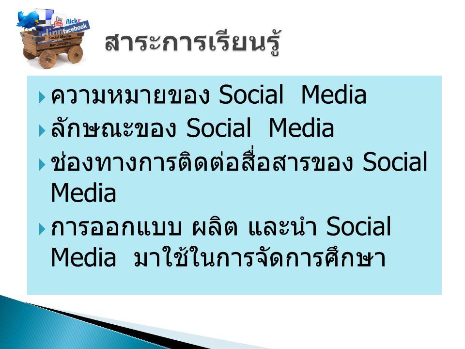 สาระการเรียนรู้ ความหมายของ Social Media ลักษณะของ Social Media