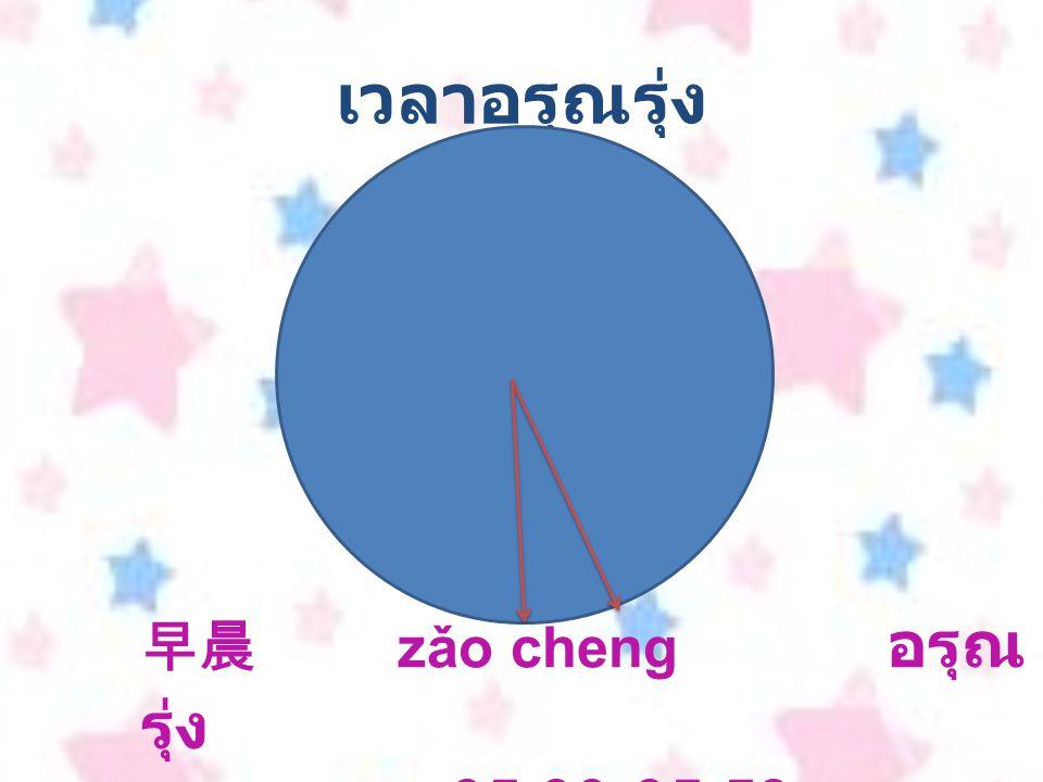 เวลาอรุณรุ่ง น 早晨 zǎo cheng อรุณรุ่ง เวลา 05.00-05.59 น.