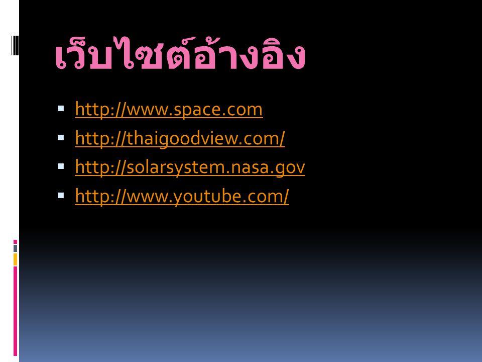 เว็บไซต์อ้างอิง http://www.space.com http://thaigoodview.com/