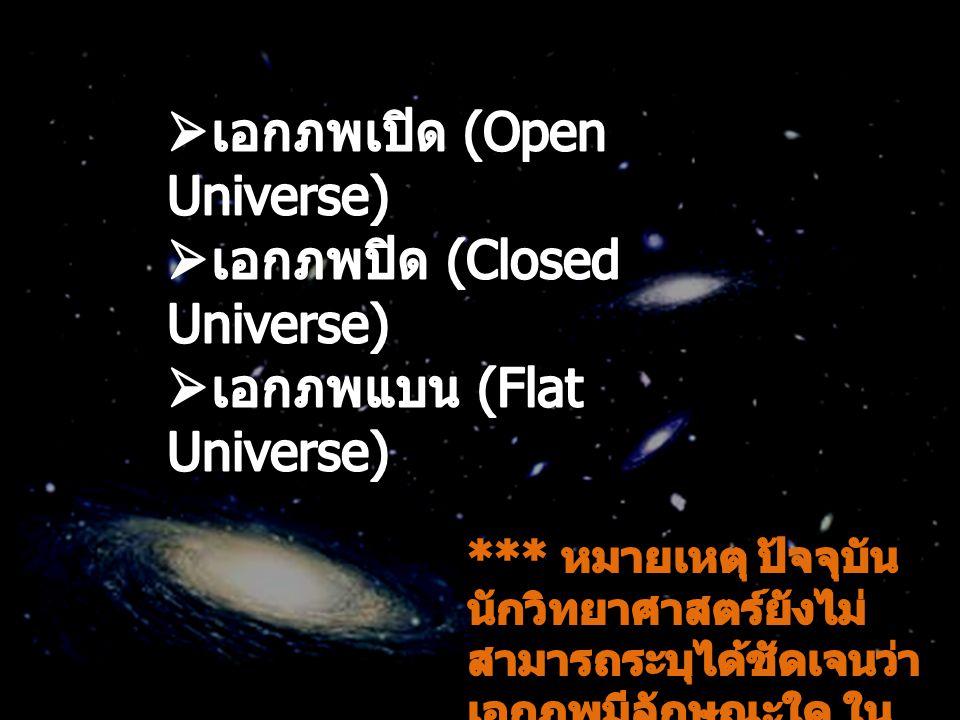 เอกภพเปิด (Open Universe) เอกภพปิด (Closed Universe)