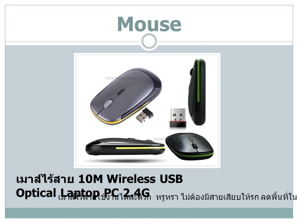 Mouse เมาส์ไร้สาย 10M Wireless USB Optical Laptop PC 2.4G
