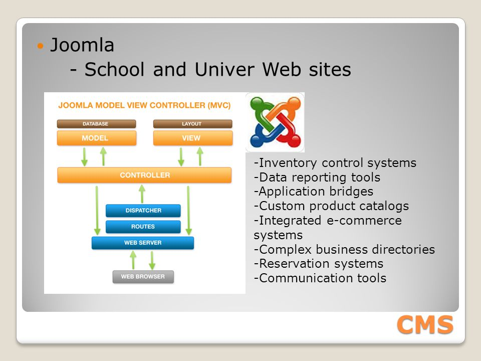 CMS Joomla - School and Univer Web sites -Inventory control systems