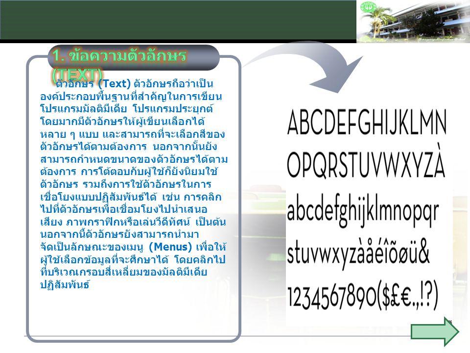 1. ข้อความตัวอักษร(Text)