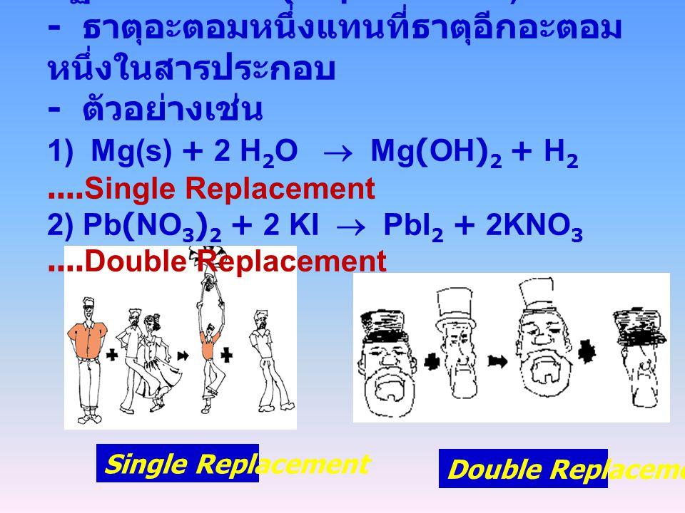 3. ปฏิกิริยาแทนที่ (Replacement) :