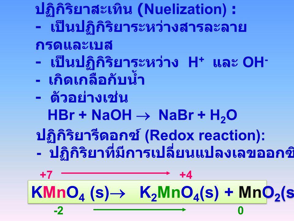 KMnO4 (s) K2MnO4(s) + MnO2(s) +O2(g)